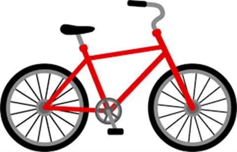 Clip art image of red bicycle